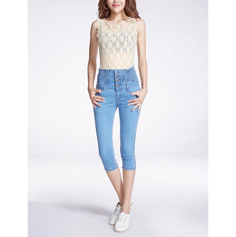 2020 de talle alto flaco Jeans Denim Mujer Primavera largo lápiz de los pantalones manera de las mujeres más del tamaño Pantalones
