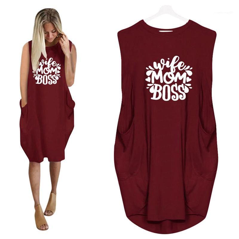 Elbiseler Kadın Giyim Kadın Artı boyutu Günlük Elbiseler Harf Baskı Tasarımcı Doğal Renk modelleri kısa kollu Mürettebat Boyun Moda