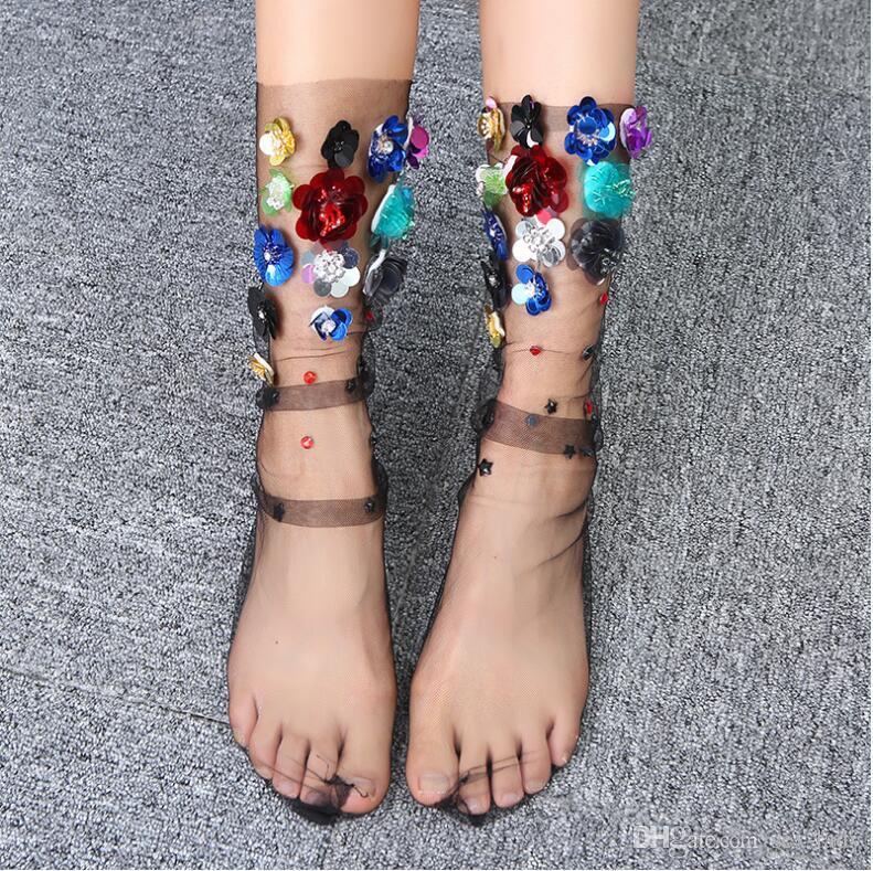2 Renkler Kadın Şeker Renkler 3D Çiçekler Çorap Lolita Bayanlar Kız Şeffaf Dantel Mesh Çiçek Çorap Çorap tül Sox