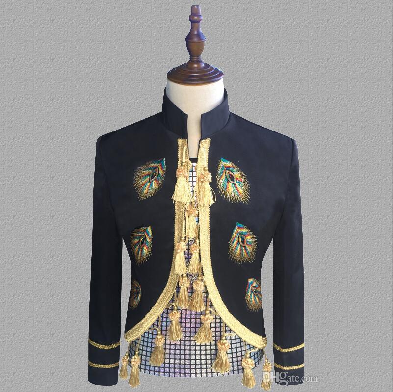 blazer men suits Court uniform jacket mens stage costumes for singers clothes dance star style dress punk rock masculino homme terno black