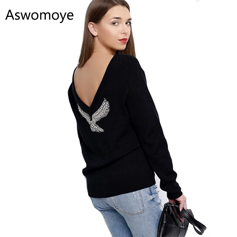 2018 S-XL Spring New Fashion Women Sweaters Full Sleeve V-Neck Beaded Eagle Diamond Pullovers Computer Knitted Sweater