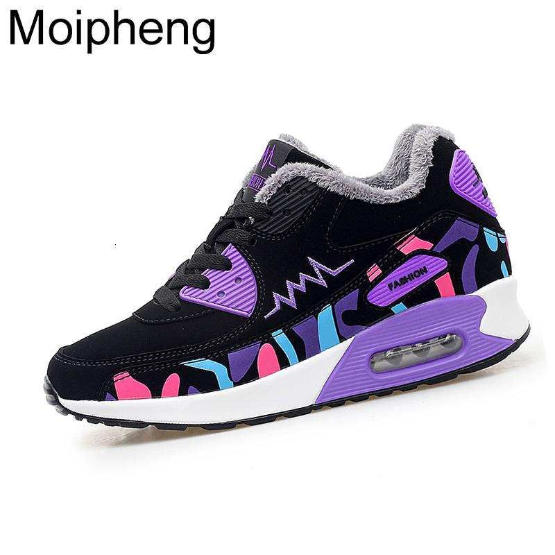 Moipheng Womens Shoes Winter Trainers Platform Red Sneakers Wedges Plush Ladies Casual Shoes Zapatillas Chunky Mujer Plataforma SH190928