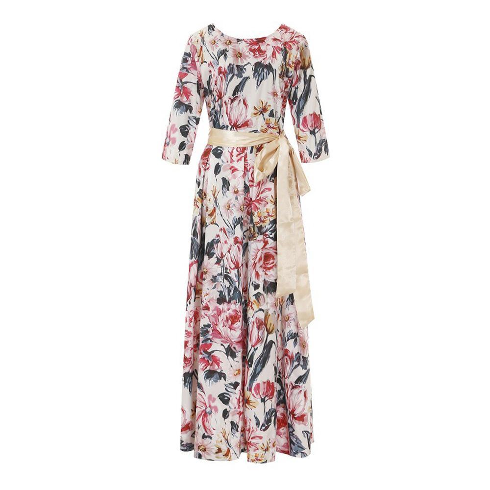 Kadın vestidos için Bohem Baskı Uzun Elbise O-boyun 3/4 Kol Büyük Hem Kadınlar Sonbahar Kış Elbise Şık Rahat Parti
