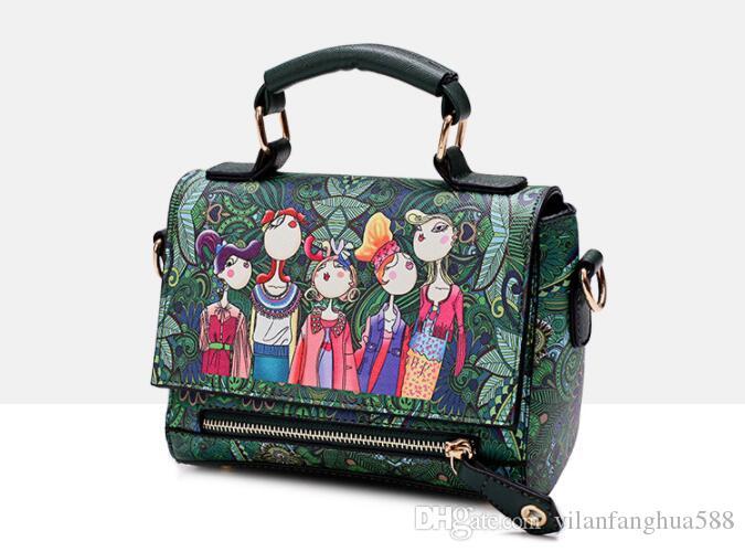 2017 hot new summer new forest cartoon printed female bag hand bill of lading shoulder crossbody fashion wing bag female bag wholesale