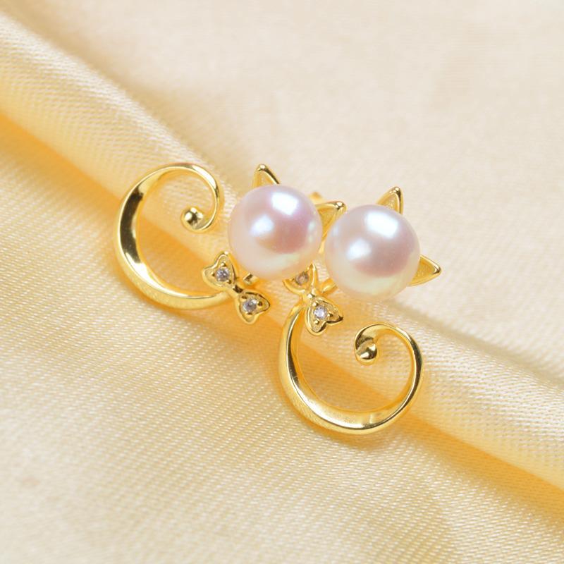 ASHIQI Genuine 925 Sterling Silver Cat Stud Earrings 6-7mm Natural Freshwater pearl Dazzling Zircon for Women & Girls gift