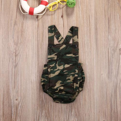 2019 Canis Sommer Unisex-Baby-Jungen Camo Bodysuit ärmel Overall Backless Kleidung Outfits nette Tarnkleidung SS
