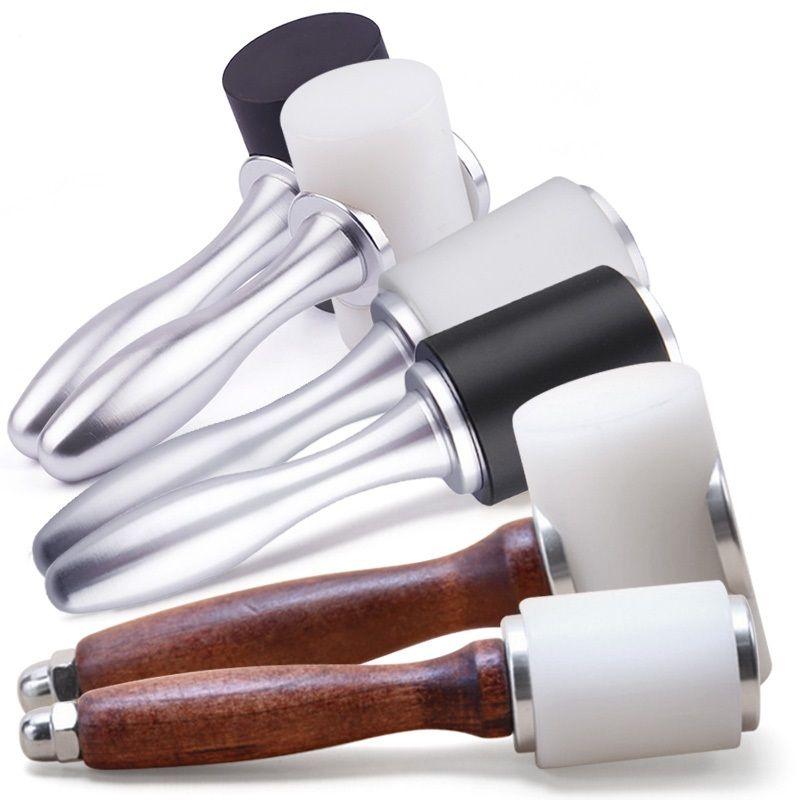 Ferramentas de couro artesanais de madeira / metal de alumínio Handle Nylon Martelo Art Printing DIY Psoríase Instalação Ferramenta Ferramenta roda redonda