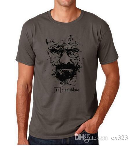 En Kaliteli Pamuk heisenberg komik erkekler t gömlek casual kısa kollu kırma kötü baskı erkek T-shirt Moda erkekler için serin T gömlek