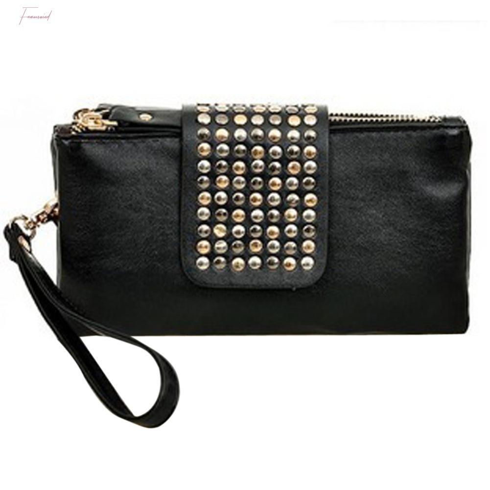 Womens Clutch Bolsas Bolsas Pu Carteiras de couro Rivet Zipper sacos para as mulheres Embreagens Bolsas Mulheres Sacos Bolsa Feminina