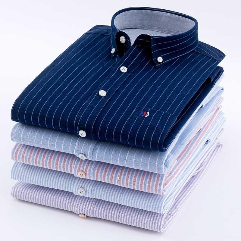 Men's Oxford Shirt 100% Cotton Fashion Stripe Casual Long Sleeve Shirts Retro Style High Quality Design Mens Dress Shirts Male