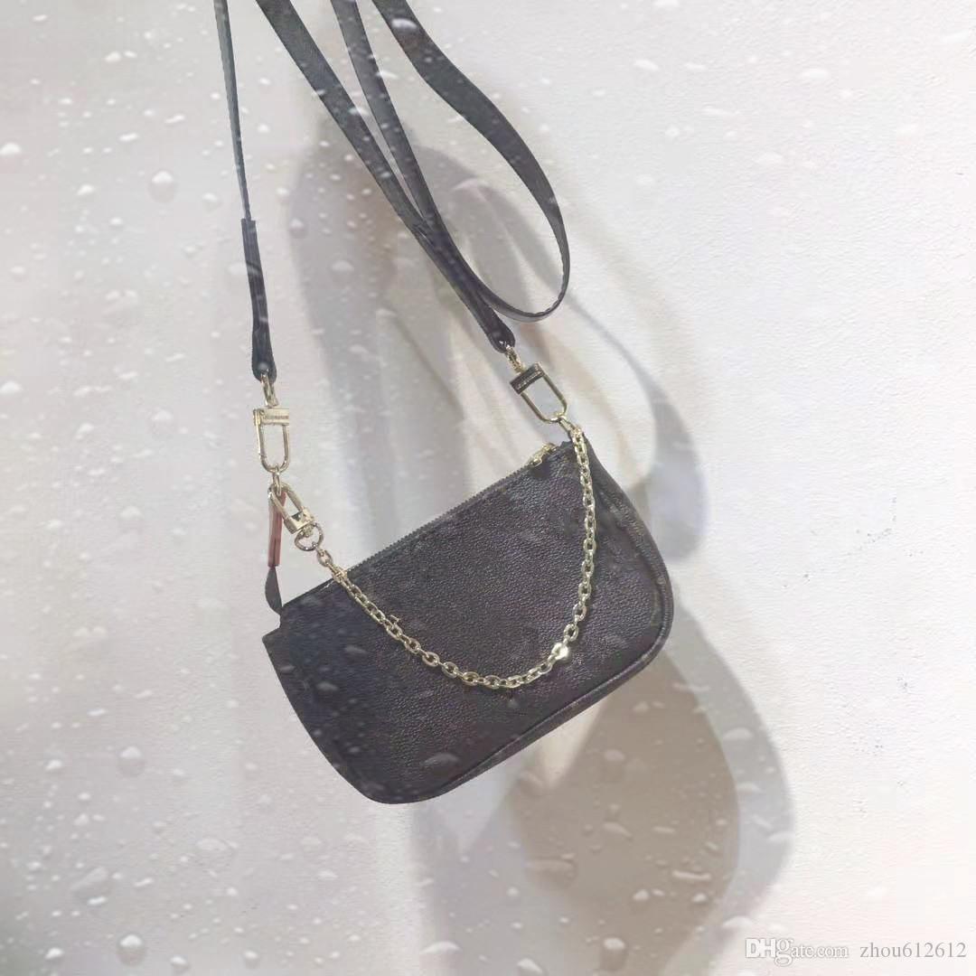 NewestClassic повелительниц 41706 мини Pochette мешок моно цветок женщины кожи плеча мешки Crossbody сцепления мешок бумажники сломанный мешок денег