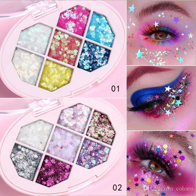 7color Glitter Palette de fard à paupières Visage corps cheveux yeux étoile Coeur Fragments Paillettes Diamant Brillant Maquillage de scène