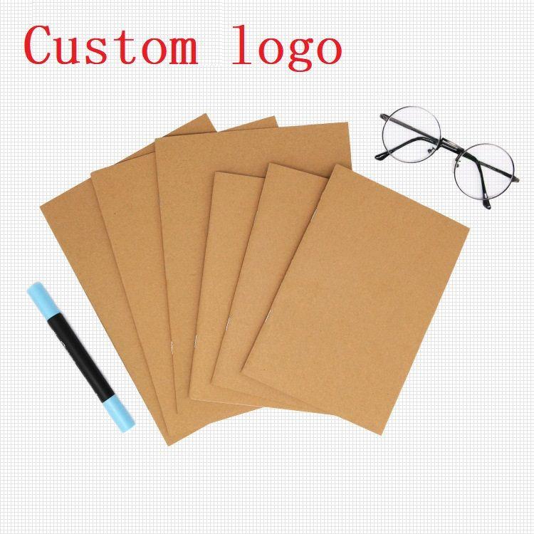Custom logo Cowhide Paper Notebook Blank Notepad Book Vintage Soft Copybook Daily Memos Kraft Cover Journal Notebook DLH362