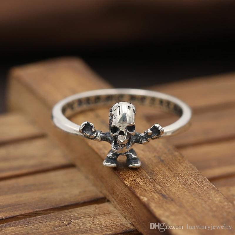 Personalized new 925 sterling silver vintage jewelry American European hand-made designer skull head punk ring for gift