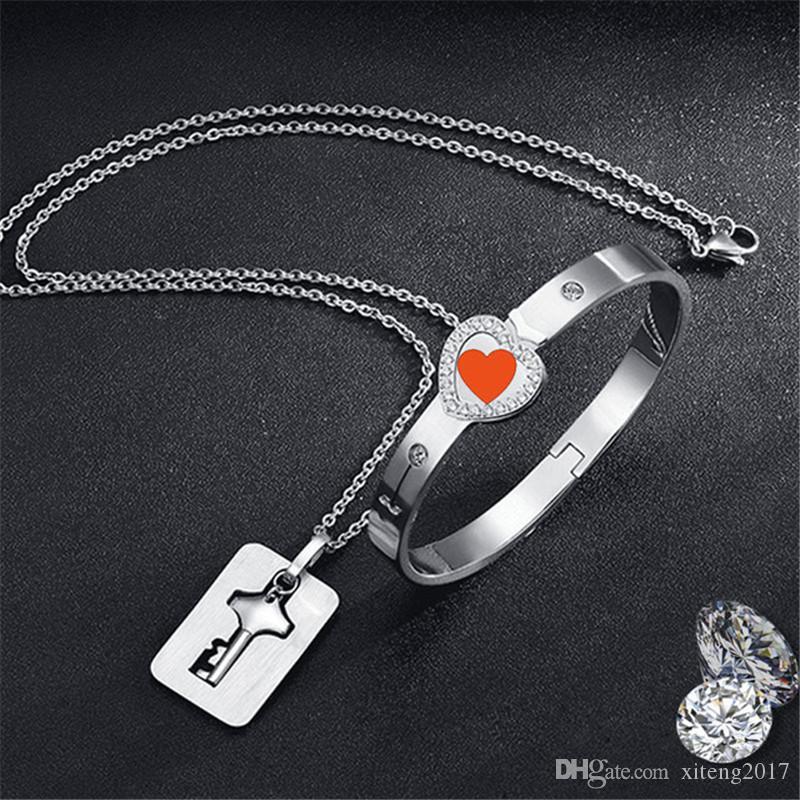 زوجان عشاق مجوهرات الحب القلب قفل سوار الفولاذ المقاوم للصدأ أساور أساور مفتاح قلادة هدايا عيد الحب