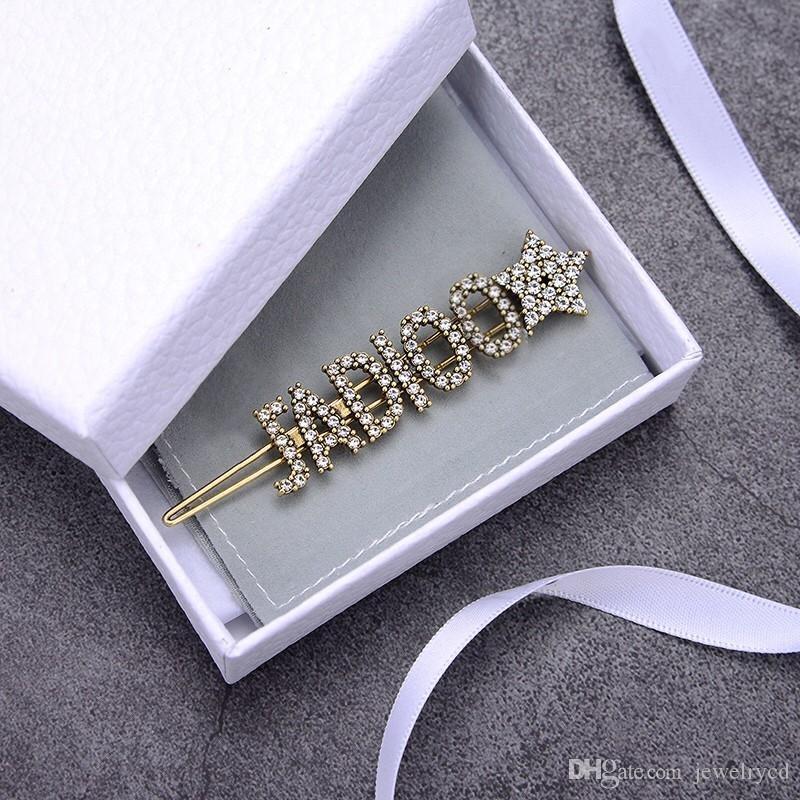 estrela designer de hairpin de luxo designer grampos de cabelo mulheres jóias de luxo completos letras de diamantes