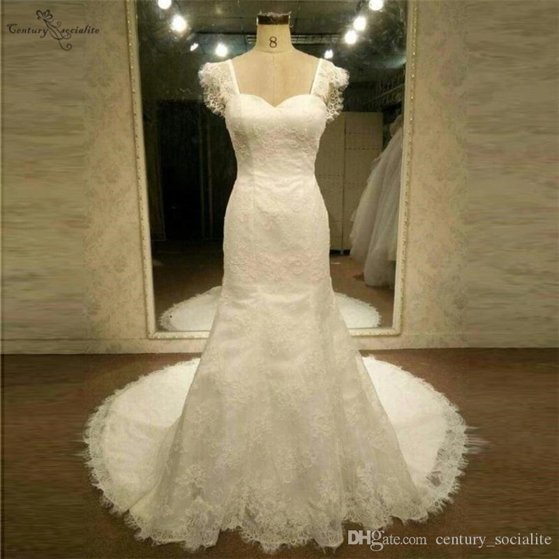 Vestidos de novia de encaje Mermasas sin espalda Mangas de mangas de barrido 2020 Vestidos nupciales Vestido de novia Vestido de Noiva Sereia