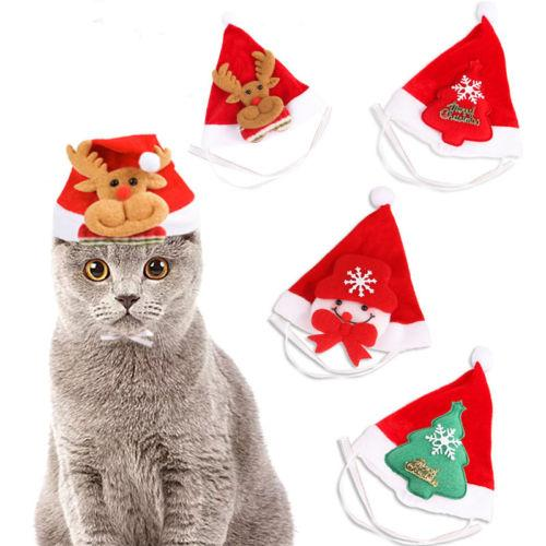 Cute Christmas Pet Santa Hat Small Puppy Cat Dog Xmas Holiday Costume Ornaments Adorable New Promotion Pet Christmas Hats