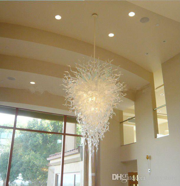 Art New Art-Licht-Hauptdekor-Leuchter-heißen Verkaufs-Large Size 100% Mund durchgebranntes Borosilicatglas Weiß Kronleuchter