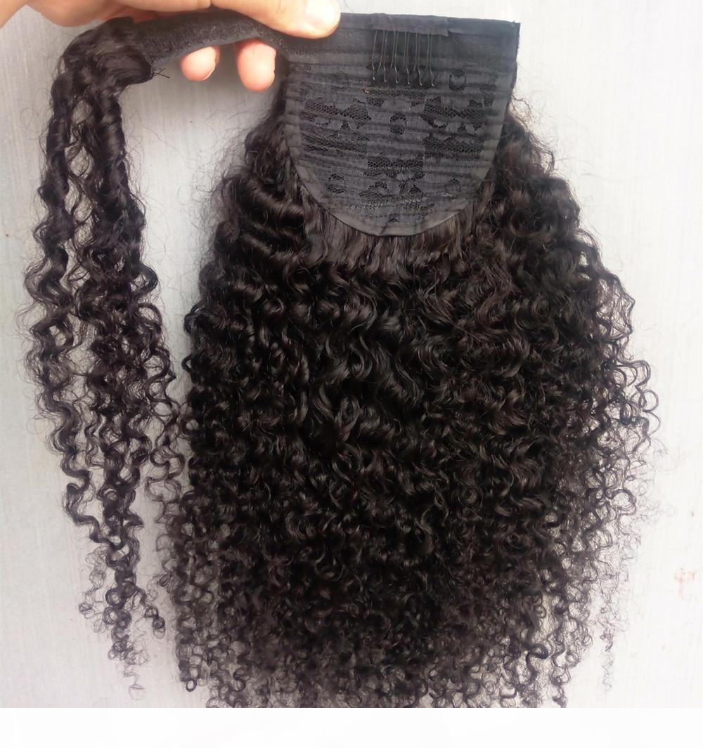 Humano Rabo Cabelo Europeia Kinky Curly Hair Extensions 160gram Wrap Around clipe na cauda de pônei Remy Cabelo 10-24 polegadas