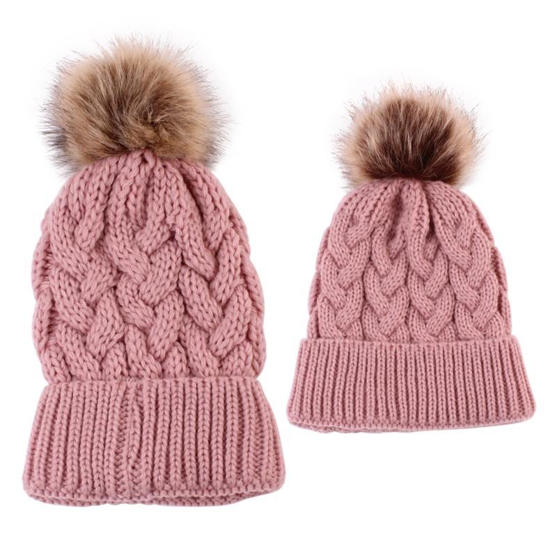 2Pcs Mother Kid Hats Warm Winter Knit Beanie Caps Mom Baby Crochet Hats