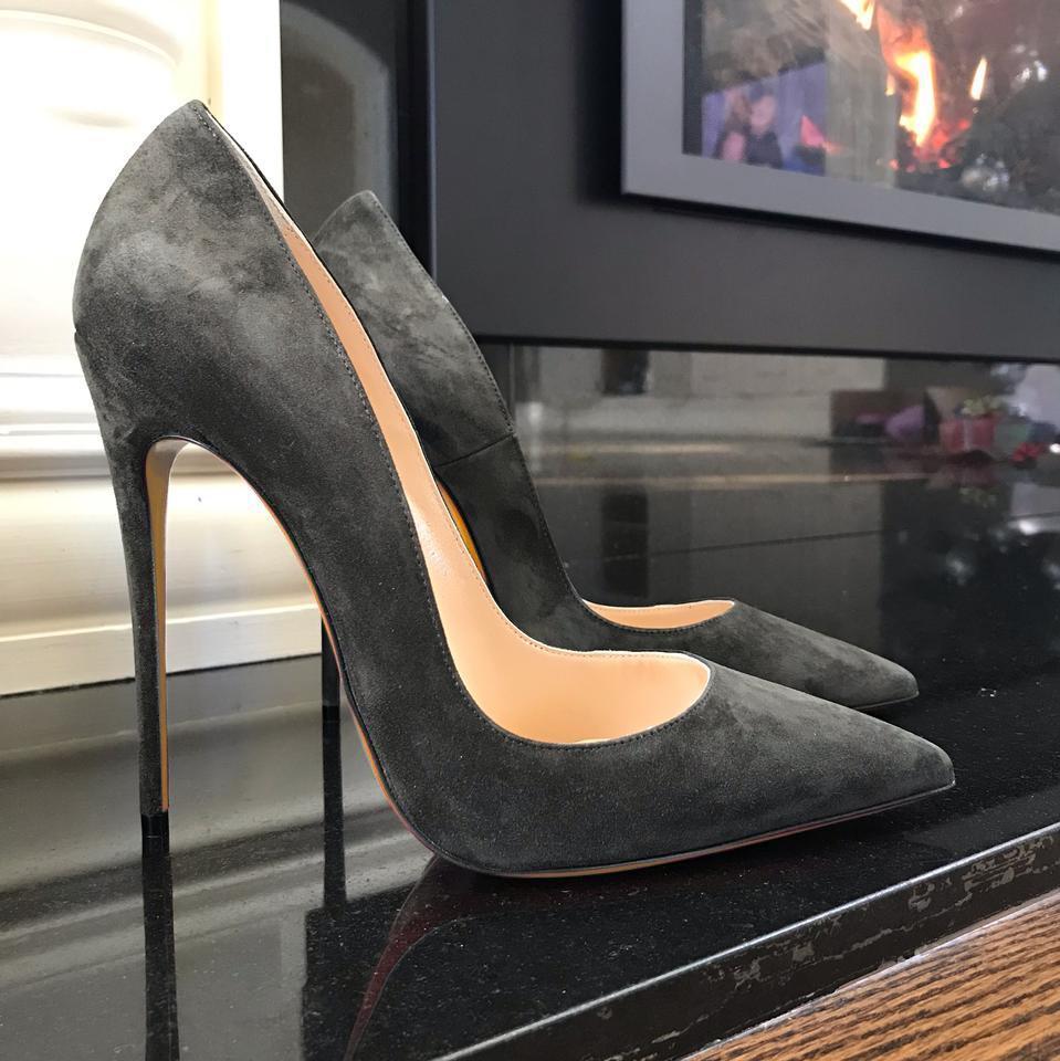 Bombas 2020 moda verão Mulheres cinza camurça stiletto ponto toe noiva casamento sapatos de salto alto foto real 12 centímetros 10 centímetros oito centímetros nova marca