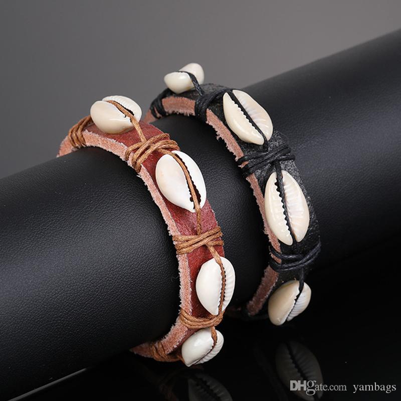 Cuoio del braccialetto gioielli di moda intrecciato bracciali per le donne gli uomini Handmade di fascini di Shell Beads regolabile braccialetti Nero Colore Marrone