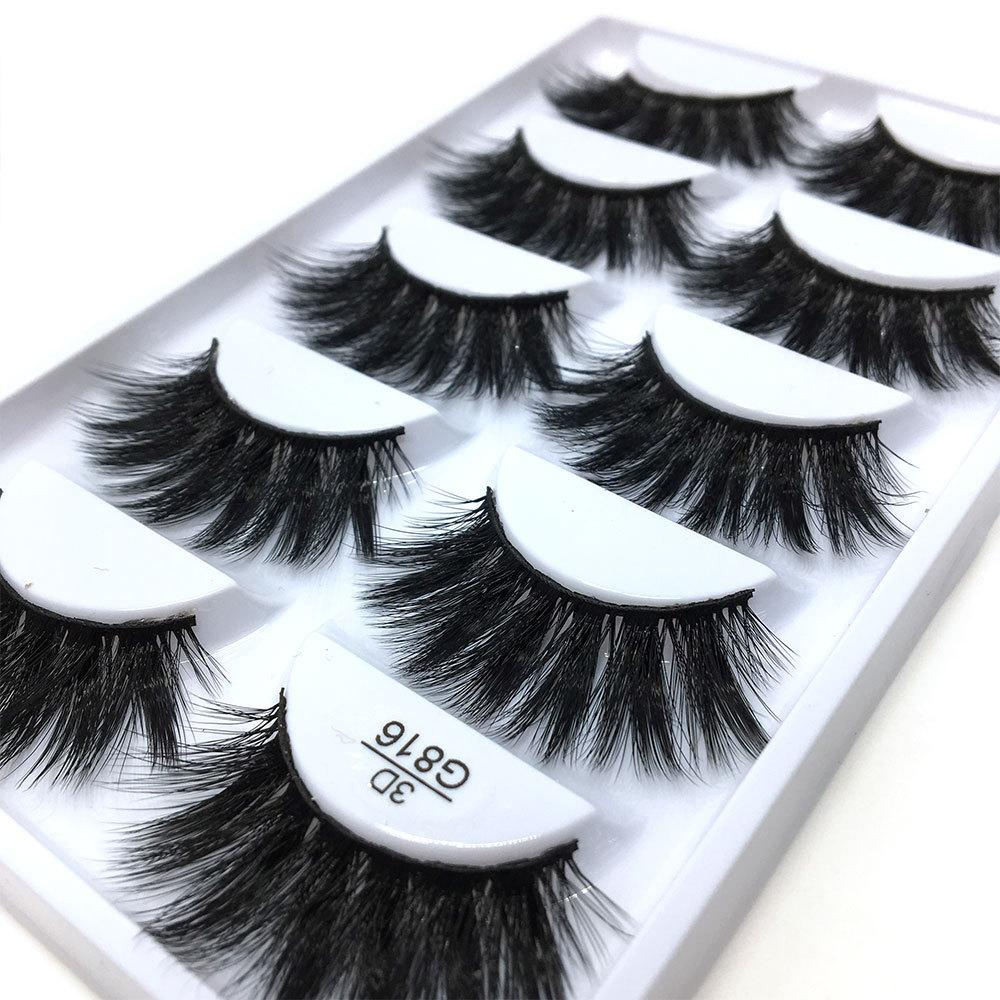 3D Stereotypes False Eyelashes Five-Pack Natural Thick False Eyelashes G816 Hand-Made False Eyelashes Artificial Wholesale