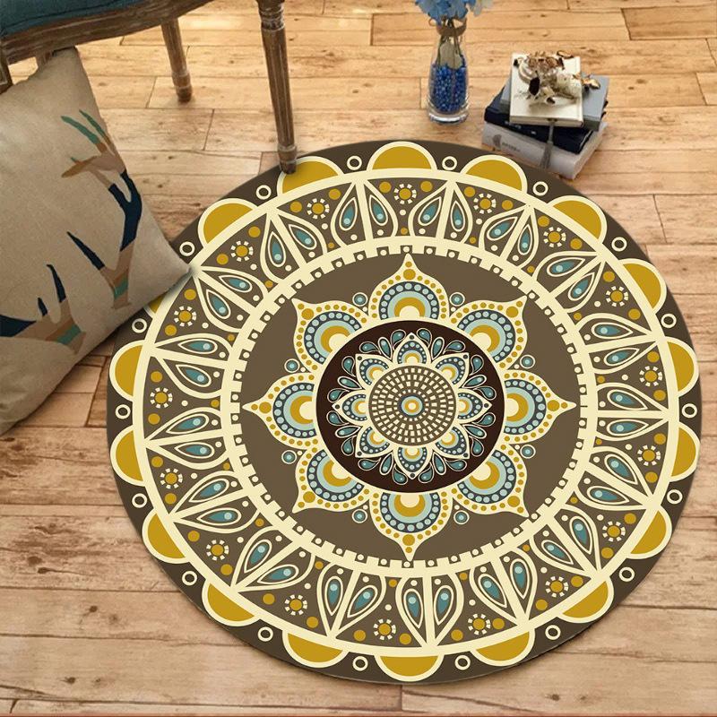 Teppich Indien Farbe Retro Nationalität Stil Runde Form Teppich Schlafzimmer Mode Blumenmuster Teppich neue Art Fabrik Großhandel
