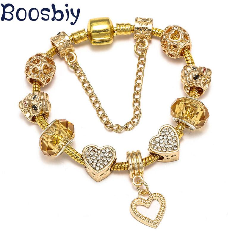 Boosbiy Gold Color Chain Charm Bracelet With Love Heart Beads For Women Girls DIY Bracelet Nice Jewelry Gift