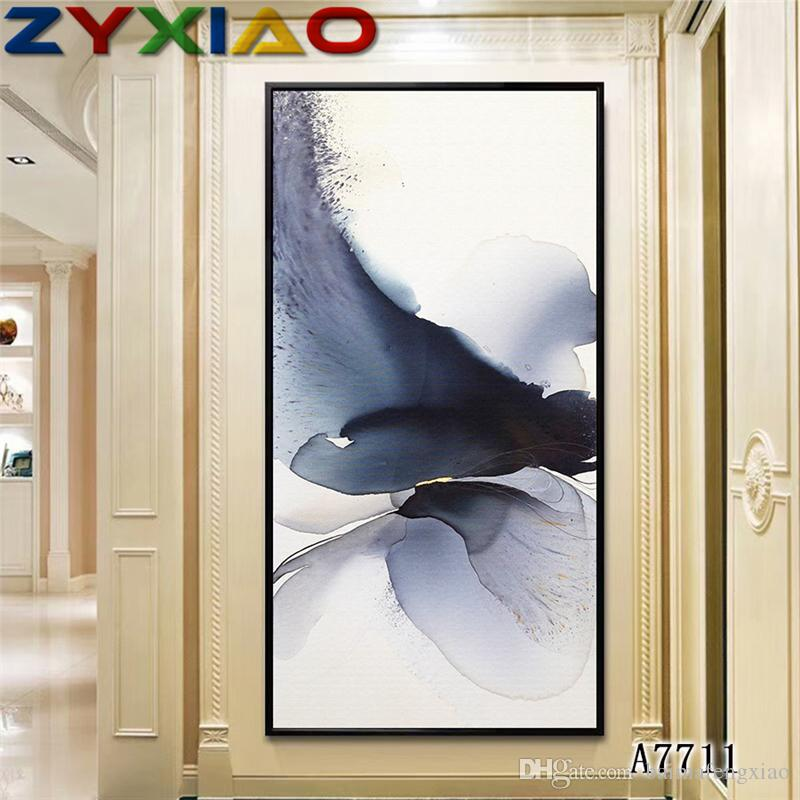ZYXIAO Posters and Prints flower ink wash lotus modern Oil Painting Canvas No Frame Wall Pictures for Living Room Home Decoration A7711