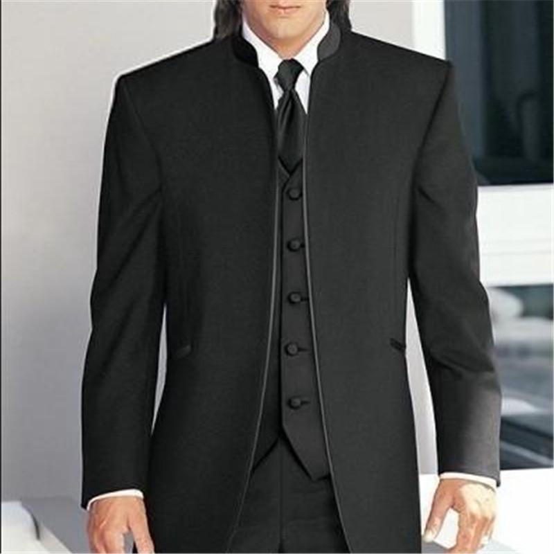 2018 جديد أسود الوقوف الياقة الرجال بدلات الزفاف 3 قطع (سترة + سروال + سترة + ربطة عنق) مخصص العريس البدلات الرسمية أفضل رجل زفاف العرسان