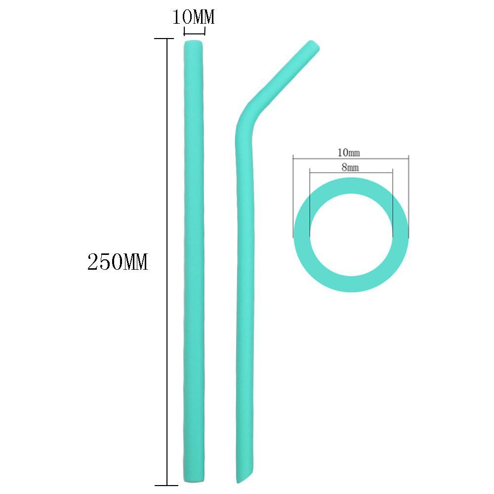 10pcs reutilizável Palhinha Food Grade Silicone Set Straw longo flexíveis coloridas Palhas Com Escovas de limpeza Bar Festa palhas