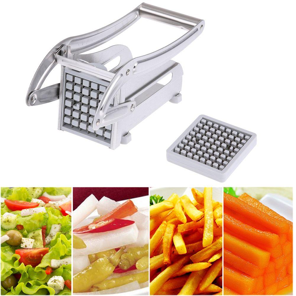 Papas fritas cortadoras de papas fritas de acero inoxidable Máquina cortadora de tiras Máquina cortadora Chopper Dicer W / 2 Cuchillas Aparatos de cocina Q190524