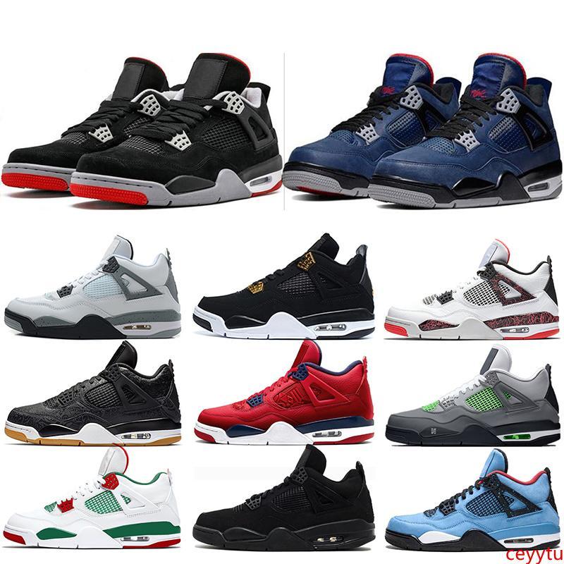 Designer 4 New Bred 4s Hommes Chaussures de basket Qu'est-ce que le ciment gris blanc froid hommes Libre de sport Chaussures de sport Taille 40-47 Drop Shipping