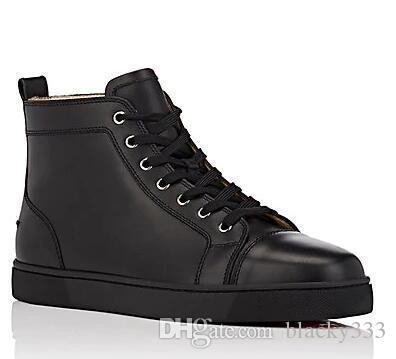 2019 schwarz weiß Leder Red Bottom Sneaker Flach New Designer Lace Up High Top Mixed Farben Schwarz Weiß Trainer Größe 39-47