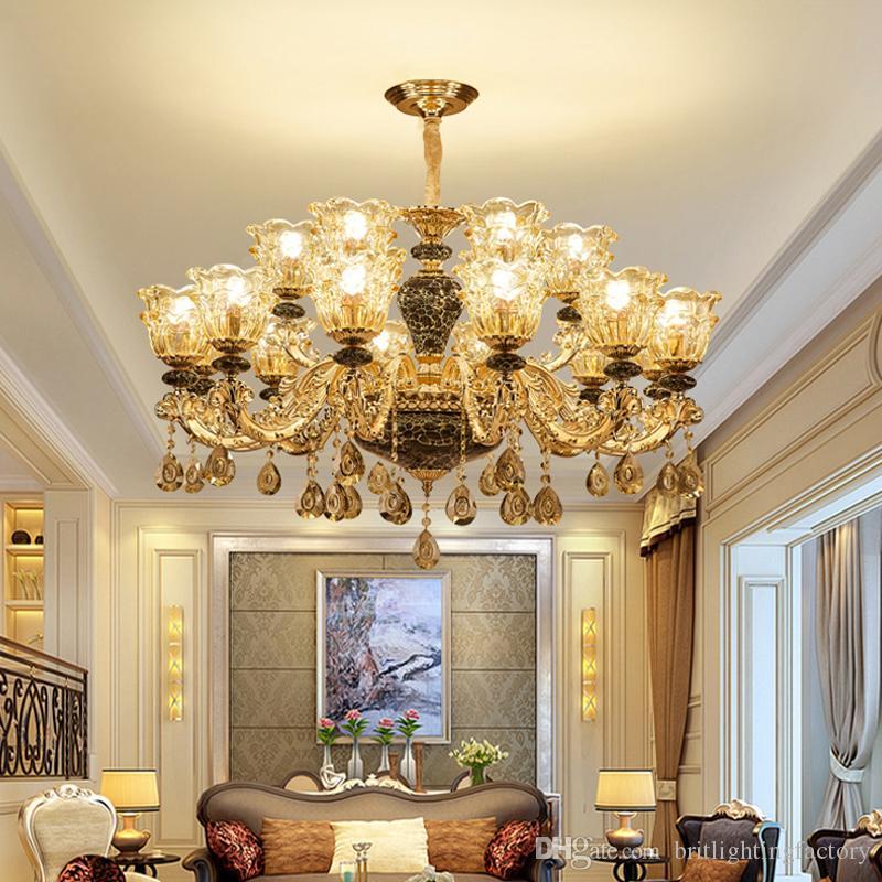 European Zinc Alloy Crystal Chandelier Lighting Luxury Villa Hotel Crystal Chandelier Bedroom Pendant Lamps Living Room Ceramic Chandeliers