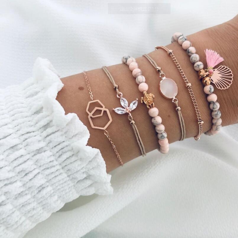 Nuevo estilo de color rosa patrón de pulsera de cuentas de la franja de la personalidad tortuga gota de agua joya de 6 piezas de la pulsera de envío libre