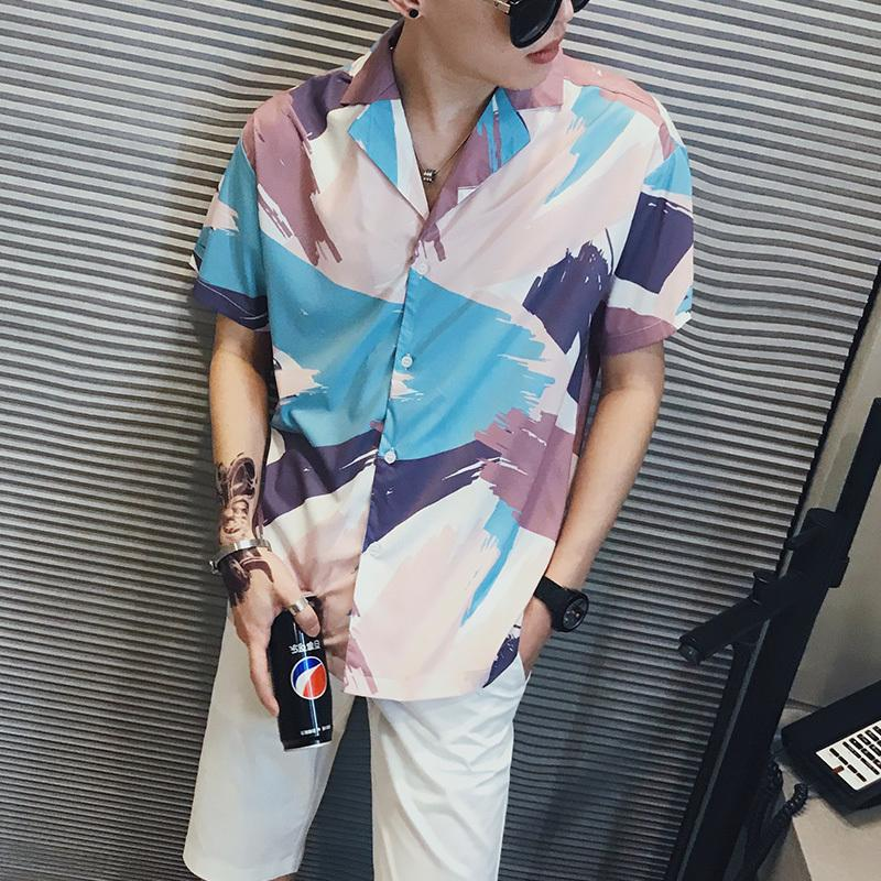 Coreano solto Digital Imprimir manga curta Men shirt da praia do verão camiseta para homens Turn Down Collar Casual Streetwear Camisas 3XL-M