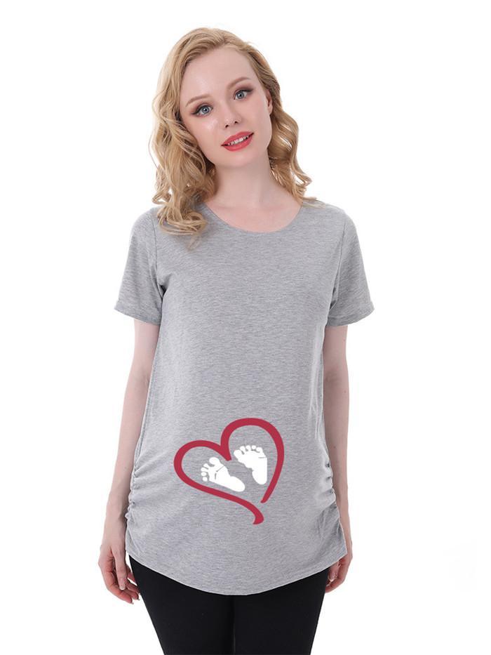 Femme enceinte amour Imprimer T-shirt à manches courtes d'été ras du cou Famale vêtements amples Mode maternité