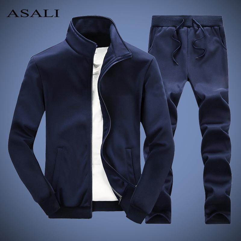 Sólido Treino Homens Spring Casual Mens Set Slim Fit Outono 2020 Outwear jacket + pants 2 conjuntos de peças Masculino nova faixa ternos Man 4XL