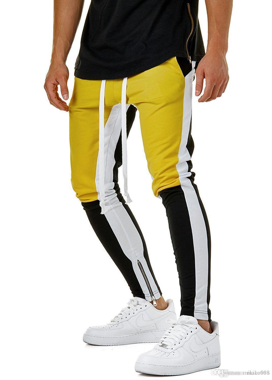 Adam hareket urgan uzun tarzı pantolon Mavi Patchwork Ayak ve ağız Düğme Haren Küçük ayaklar Fitness hareket pantolon gevşek