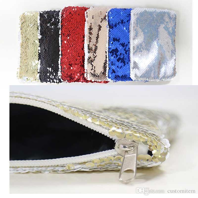 sublimazione vuoto paillettes borse monete portamonete stampa a trasferimento termico portamonete borse consumabili commerci all'ingrosso nuovi stili 12 * 17 cm