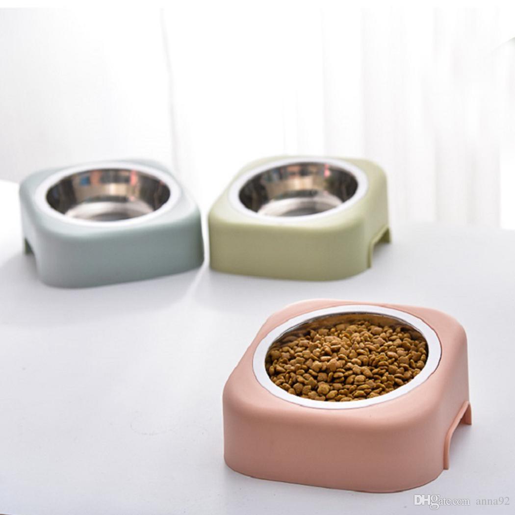 Su Pet Köpek Paslanmaz Çelik Kedi Maması Bulaşık ücretsiz kargo İçme Köpek Bowl Seyahat Pet Kuru Gıda Çanaklar İçin Kediler Köpekler Pembe Köpek Çanaklar Açık