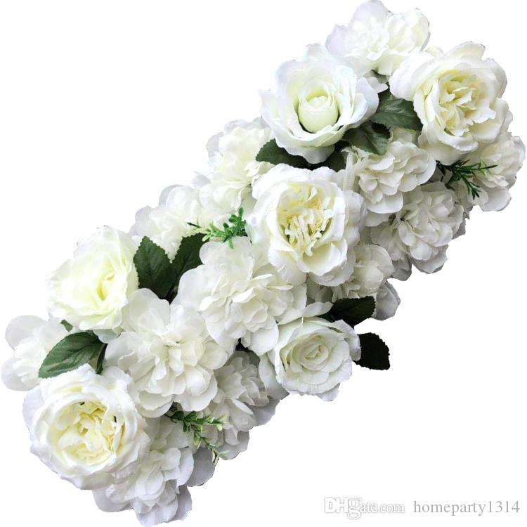 50cm DIY flowers for Pavilion Corners Decorative Flores rose peony hydrangea plant artificial flowers row for wedding arch door road lead