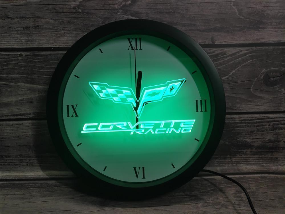 0G095 شيفروليه كورفيت APP RGB LED النيون ساعة الحائط ضوء علامات
