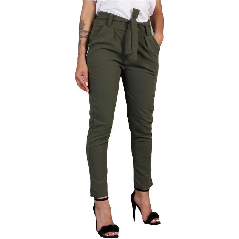 Harajuku Slim Pencil Trousers Women 2019 Spring Autumn Long Pants Khaki Green Black Casual Pants Belt Fashion Office Trousers MX190714