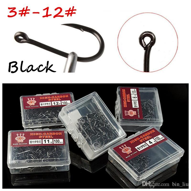 1000шт/10box 10 размеров смешанные 3#-12# Ise крючок высокоуглеродистая сталь черный рыболовные крючки BL_48