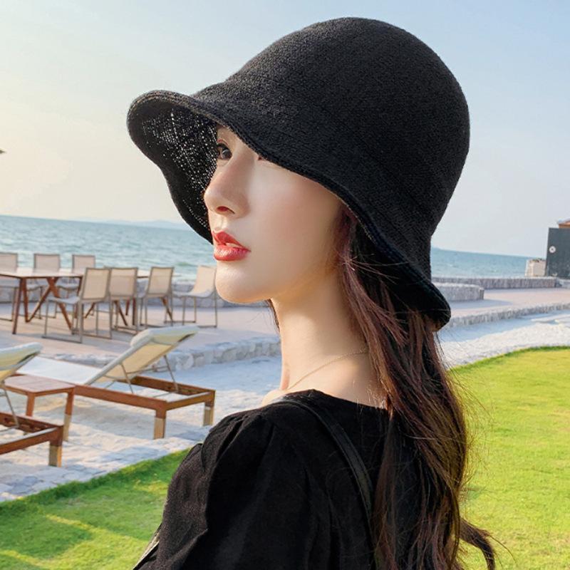 2020 الربيع والصيف محبوك جديدة في الهواء الطلق الأزياء الشمس السيدات قبعة شاطئ البحر الشاطئ قبعة واقية من الشمس البرية طوي الشمس