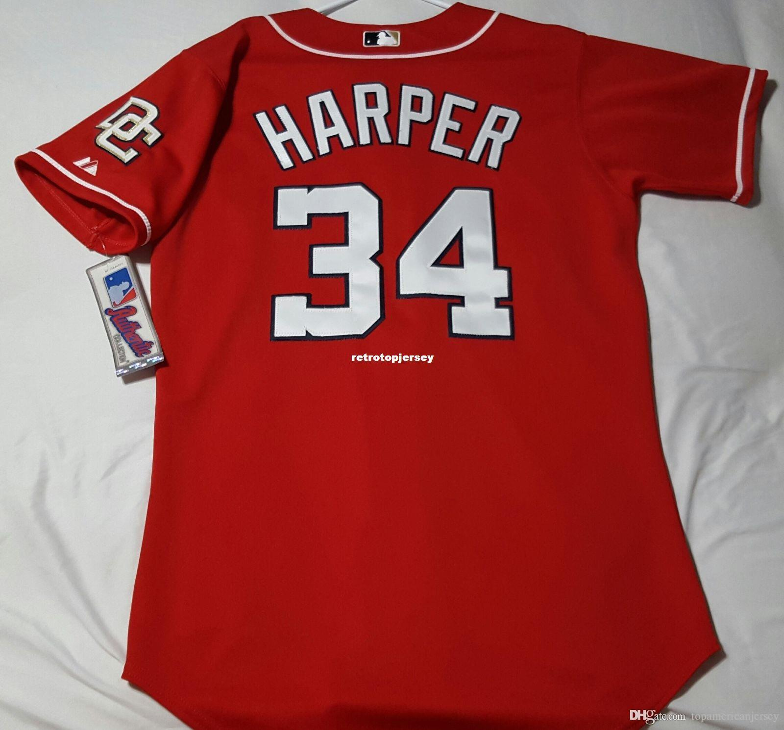 Majestic economici Washington # 34 Bryce Harper Jersey Mens cucito SHARP! pullover di baseball grande e grosso formato XS-6XL all'ingrosso